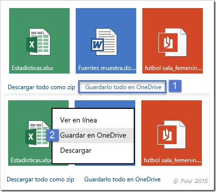 Guardar datos adjuntos en OneDrive