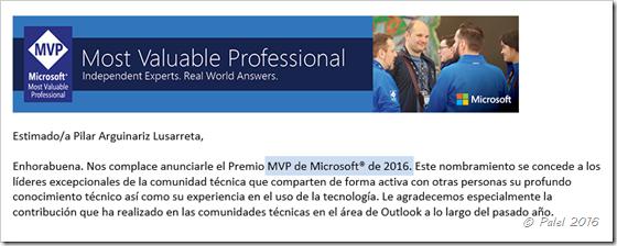Reconocimiento Microsoft MVP Outlook 2016 - palel.es