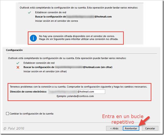 Error de sincronización o configuración de cuentas Hotmail.com